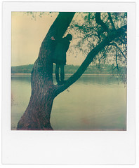 .woodhouse. (andrenzo) Tags: wood house tree film girl polaroid lago sx70 casa andrea instant