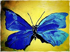 Butterfly in oils by Jade (Andy Blackwell Photography) Tags: blue shadow art nature beautiful yellow butterfly painting insect artwork paint artist canvas jade oil coursework oils 2012 shading youngartists naturewithallitswonders noartistleftbehind