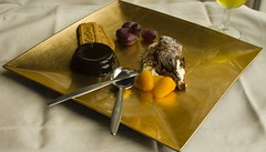 food reflections (Wendy:) Tags: coffee gold wine chocolate fork spoon grapes biscuits cutlery roulade gelee kunquats
