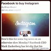 Facebook to buy Instagram ...... dislike