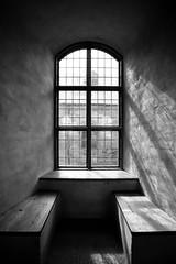 Benches (Harri_1970) Tags: old light shadow blackandwhite bw sunlight building history window wall contrast suomi finland bench wooden turku wideangle medieval symmetric canon5d turkucastle turunlinna ikkuna åboslottet canon4l1740