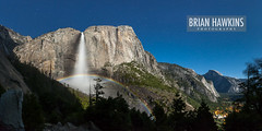 Moonbow Panorama (BrianHawkins) Tags: waterfall halfdome moonlight nightsky moonbow yosemitefallstrail upperyosemitefall stitchedpanorama lunarrainbow spraybow supermoon brianhawkinsphotography imagenumber5d26745356