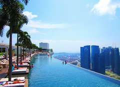 Marina Bay Sands (myculturalbaptism) Tags: world sun water bar photography hotel singapore asia bluesky palmtrees backpacking traveling luxury tanning sophisticated infinitypool classy marinabaysands