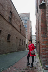 001 (Fearless Zombie) Tags: seattle red fashion washington spring boots bowlerhat april wa pioneersquare leggings peacoat combatboots flashmafia
