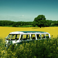 Old VW Camper Van (JGMango) Tags: blue english field vw automobile day sunny screen rape retro german 1967 van split lovely 13 rare summers rapeseed vdub walkthrough