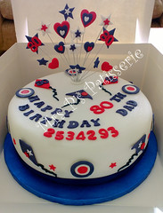 RAF logo and kite themed, red white & blue starburst cake (Mrs P's Patisserie) Tags: birthday blue red white cake logo kites 80 raf starburst