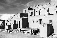 Afternoon Pueblo (Michael Deleon Photo) Tags: newmexico architecture buildings blackwhite unitedstates historic nativeamerican adobe taos taospueblo