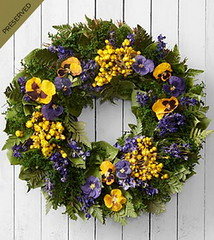 FTD Thoughtful Expressions Dried & Preserved Pansy Wreath (dobdeals.com) Tags: flowers wreaths eventsupplies