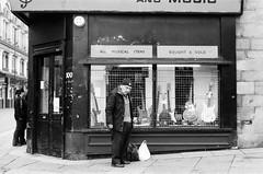 022 McKay Sound and Music, Newcastle (I  Minox) Tags: blackandwhite film monochrome olympus hp5 ilford om1 olympusom1 ilfordhp5plus 2013 130513om1hp5