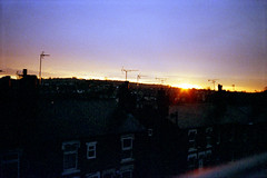 Sunrise over Sugarwell Hill and The Highburys (1) (Saturated Imagery) Tags: film sunrise 35mm iso200 leeds vintagecamera konicac35efp ferraniasolaris200 epsonv500 agphotographic photoshopelements9