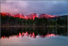 Sprague Lake Sunrise (RondaKimbrow) Tags: morning lake nature sunrise landscape colorado hiking scenic rockymountainnationalpark spraguelake alpineglow coloradolandscape halletpeak