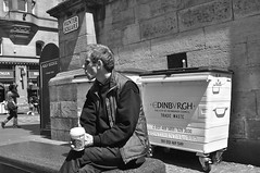 Coffee time ... (vmanseventy) Tags: edinburgh streetphotography royalmile tronkirk huntersquare