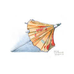 Drawing-A-Day: June 15th (redmeg8) Tags: wood color art floral illustration umbrella watercolor painting paper sketch artist drink drawing series illustrator draw drawingaday sketchaday redmeg8