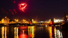 fireworks 250713 9381 (Mark Rigler UK) Tags: bridge light sea england reflection water night bay boat ship harbour low firework holes dorset poole
