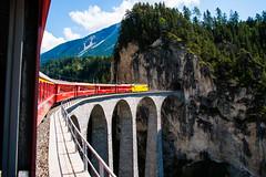 Taking the curve - and into the tunnel (jaeschol) Tags: bridge switzerland sony railway tunnel viaduct zuerich engadin rhb a900 landwasserviadukt