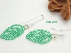 Pendientes con hojas verdes  PE.0287 (Espuma de mar by Rosa Mira) Tags: wire wrapped jewelry bijoux plata bo earrings cobre jewel joyeria joya pendientes bisuteria alambre delica rocalla