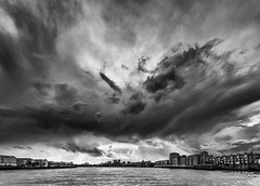 Stormy Skies over the Thames (cybertect) Tags: canonef1740mmf4lusm canoneos5d e14 limehouse londone14 londonse16 paperhat rotherhithe se16 thames blackwhite blackandwhite boat cloud monochrome sky storm stormy explore