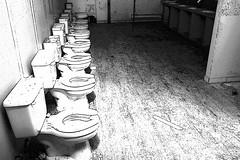 Bathroom-inkoutlines (Photo Girl Canada) Tags: old blackandwhite broken monochrome bathroom phone toilet bowl monochromatic restroom grayscale flush washroom crapper greyscale desaturate sanitario inodoro