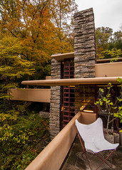 Top to Bottom, Left to Right (trainmann1) Tags: nikon d90 tokina 1116mm amateur handheld franklloydwright flw fallingwater fallingwaterhouse house home retreat millrun pa pennsylvania october fall autumn leaves trees orange green white red yellow stone concrete terrace windows glass outdoors exterior architecture design beautiful parallel lines woods nature