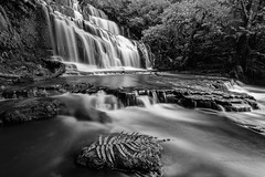 Scenic beauty of Purakaunui (zakies) Tags: newzealand purakanui waterfall blackwhite zakiesphotography mohdzakishamsudin nikond750 calm feeling jungle rockstep stone cool trip travel catlins south islands winter season forground slowshutter slowmotion longexposure leefilter river guide