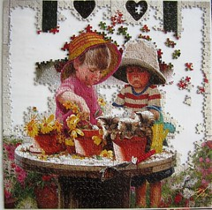 Little Potters / Kleine Grtner (Leonisha) Tags: puzzle jigsawpuzzle unfinished