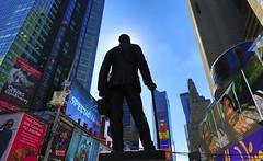 Statue of George Cohan : Times Square, New York. (Clement Tang **catching up**) Tags: newyork manhattan midtownmanhattan usa travel bronzesculpture artinstallation architecture artwork autumn nationalgeographic concordians bluesky handheldhdr backlit timessquare cityscape landscape scenicsnotjustlandscapes america bronzestatue