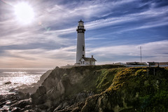 Pigeon Point Lighthouse (Digital Biology) Tags: lighthouse pigeonpoint pacific ocean cliffs sky sun lensflare