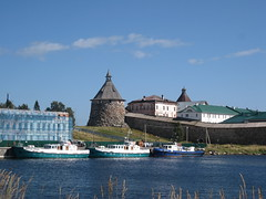 sea transport (VERUSHKA4) Tags: bay moor harbour canon europe russia white sea seascape scape travel august summer northen arkhangelskaya region album solovetsky cloister wall stonework fortress boat ship people vue view sky ciel cloud blue roof iron detail object building tower