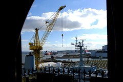 View from St Mary's Tower of Fort Rosealie in Dry Dock (Pammy'sPics) Tags: cammelllaird shipbuilders engineers thetis birkenhead submarine rivermersey memorialtohmsthetis hmsthetis fujixt2