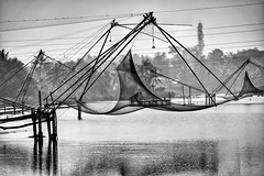 Old and new (leweeg10) Tags: cellphonetower communicationstower chinesefishingnet fishingnet india kochi cochin backwaters fujifilm fujinon fuji 55200mm xt1
