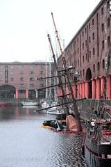 What Shall we do with the Sunken Sailer? (innpictime  ) Tags: water boat ship masts docks liverpool zebu albertdock sunk sinking berth brigantine wooden baltictrader piratebrethren sailer