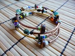 CherokeeDancing (CherokeeDancing) Tags: jewelry handmade beaded bracelet beadwork memory wire gemstone stone semiprecious copper random abstract cherokeedancing wrapped sirius treasures multicolor one size free gypsy hippie industrial boho chic