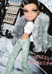 Baby Love (alexbabs1) Tags: bratz holiday 2007 yasmin loves it icon goddess beauty fleek queen trapped london regina dannii minogue curiosity slay boho hippie chic style fashion trends trend trendy gothic font pretty princess mgae mga entertainment dolls fall winter christmas ooak couture integrity toys icons janay fur grey coat jacket funk glow jeans denim sasha hair sarah palins bangs