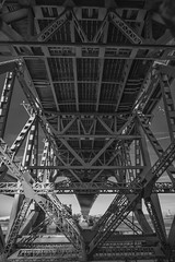 Under (Martin Beecroft Photography) Tags: runcorn bridge river mersey crossing suspension road monochrome