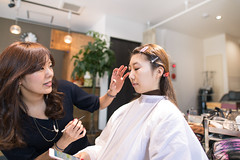 Young Japanese girl making up in beauty salon (Apricot Cafe) Tags: img4734 20s asianethnicity japan japaneseethnicity kimono sigma20mmf14dghsmart tokyo beauty beautysalon ceremony culture enjoy hairsalon happiness peaceful twopeople woman youngadult