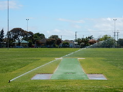 Watering a Concrete Pitch (mikecogh) Tags: sport cricket pitch concrete sprinkler watering suburban hove