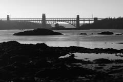 Britannia Bridge and Ynys Gored Goch B&W (ir0ny) Tags: blackwhite bw wales northwales anglesey porthaethwy menaistraits menaibridge grave gravestones churchisland britanniabridge
