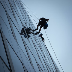 Window cleaners (Spannarama) Tags: lookingup windowcleaners abseiling ropes windows sky reflections bank london uk square
