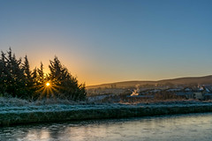DSC- 0017 - First frost (SWJuk) Tags: swjuk uk unitedkingdom gb britain england lancashire burnley home canal leedsliverpoolcanal towpath cold icy ice sunrise dawn daybreak bluesky autumn autumnal autumncolours hills hillside sunlight light naturallight sunburst 2016 nov2016 winter nikon d7100 nikond7100 18300mm rawnef lightroom