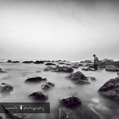 sleep walking... (PNike (Prashanth Naik)) Tags: longexposure sea sky blackandwhite bw india selfportrait man beach water clouds standing nikon rocks long exposure filter nd andhra pradesh vizag sigma1020mm visakhapatnam d7000 pnike