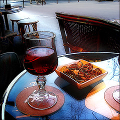 Aperitif Time : Kir & Pretzels (Pifou 2010) Tags: street blue light white paris france reflection art glass colors bar table outside chair wine couleurs terrasse bleu lumiere blackcurrant rues reflets pretzel chaise 2012 verre hypothetical kir aperitif vividimagination artdigital awardtree exoticimage gerardbeaulieu pifou2010 netartii imagetrolled aperitiftimekirpretzels