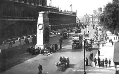 Whitehall (Leonard Bentley) Tags: uk london buses traffic scouts pedestrians cenotaph wreaths homeoffice metropolitan whitehall taxicabs downingstreet taxirank treasurybuilding scoutmaster waroffice doverhouse canonrow cannonrow