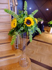 DSCF3595 (Vicky Spence) Tags: wedding green glass yellow staircase sunflower bloom vase tall centrepiece solidago craspedia moluccella