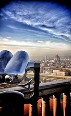 Florence's view. (johnfil_jp) Tags: life street travel bridge roof light sky love water walking landscape town florence nikon view dream streetphotography upper binoculars firenze duomo michelangelo paysage piazzale jumelles backlighting piazzalemichelangelo mygearandme mygearandmebronze mygearandmesilver johnfil