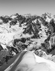View from Aiguille du Midi, France (Paulina Grunwald) Tags: winter sun white snow black france mountains alps french landscape chamonix frenchalps winterlandscape aiguilledumidi southfrance mountainpanorama