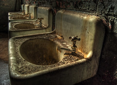 Scrub your filthy hands. (nikon peeper) Tags: urban mill abandoned bathroom rust peeling paint decay silk maryland explore sinks throwing lonaconing urbex klotz