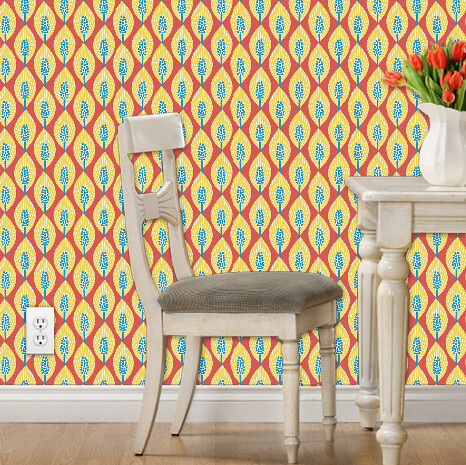 mod peace lilies wallpaper (yellow, blue, red)