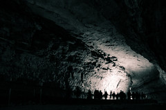 Deep Dark Tunnels (_Codename_) Tags: silhouette blackwhite nationalpark kentucky tourists mammothcave cave splittoning