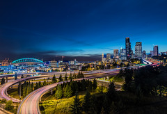 Seattle Blues (NW Vagabond) Tags: seattle blue light skyline night century twilight downtown i5 stadium trails clear hour link 2013 scurves