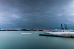 Long Exposure (Mohammed Bin Khaled) Tags: new city longexposure newzealand mountain ferry clouds port sunrise harbor nikon exposure cloudy auckland zealand d90 2013